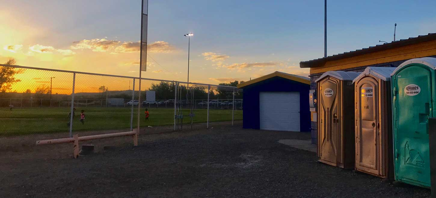 Portable Toilets and a sunset